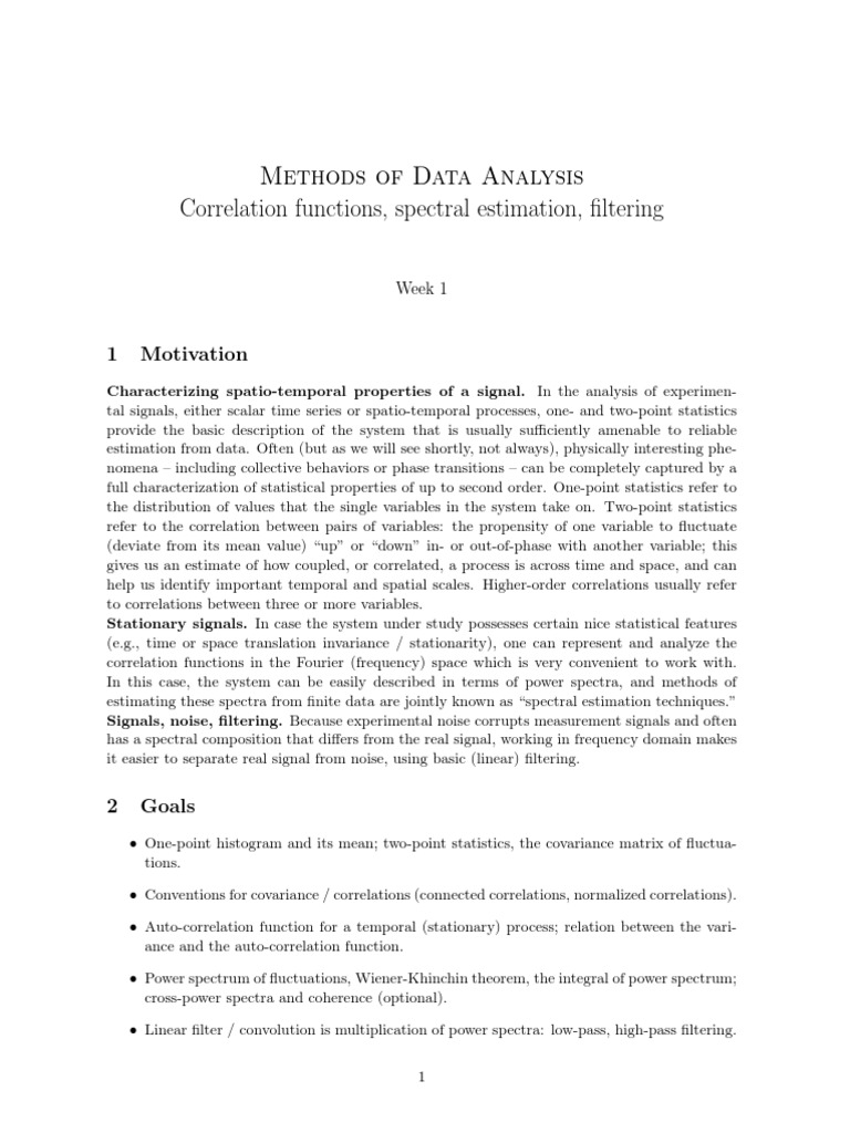 MDA1 pdf | Spectral Density | Correlation And Dependence