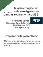 Preguntas para imaginar un programa de investigación en ciencias sociales en la Universidad Mayor de San Simon, Bolivia