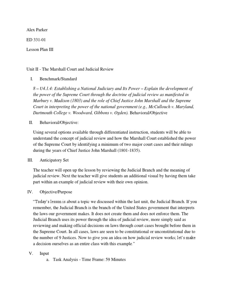 Marshall Court And Judicial Review John Marshall Judicial Review