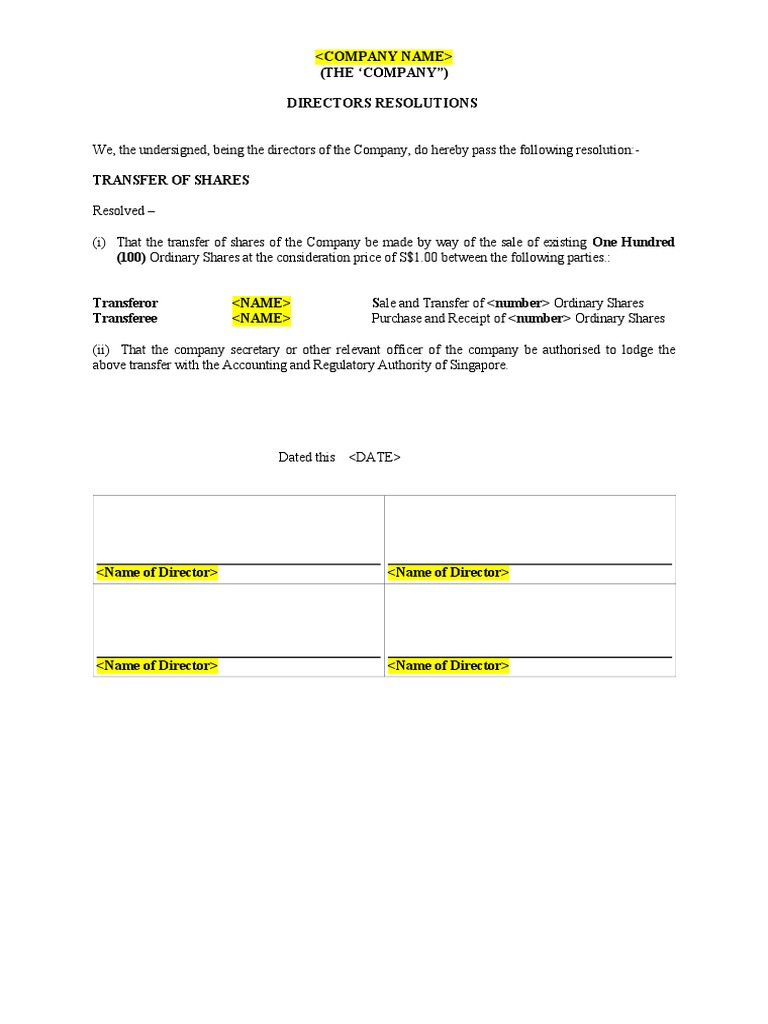 Resolution of Transfer of Shares & Share Transfer Instrument Document