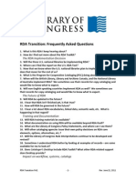 RDA Transition Frequently Asked Questions