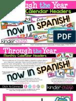 Through the Year Calendar Headers in Spanish