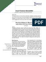 Empirical Finance Newsletter, August 2009 (plus Stock Screen Results)