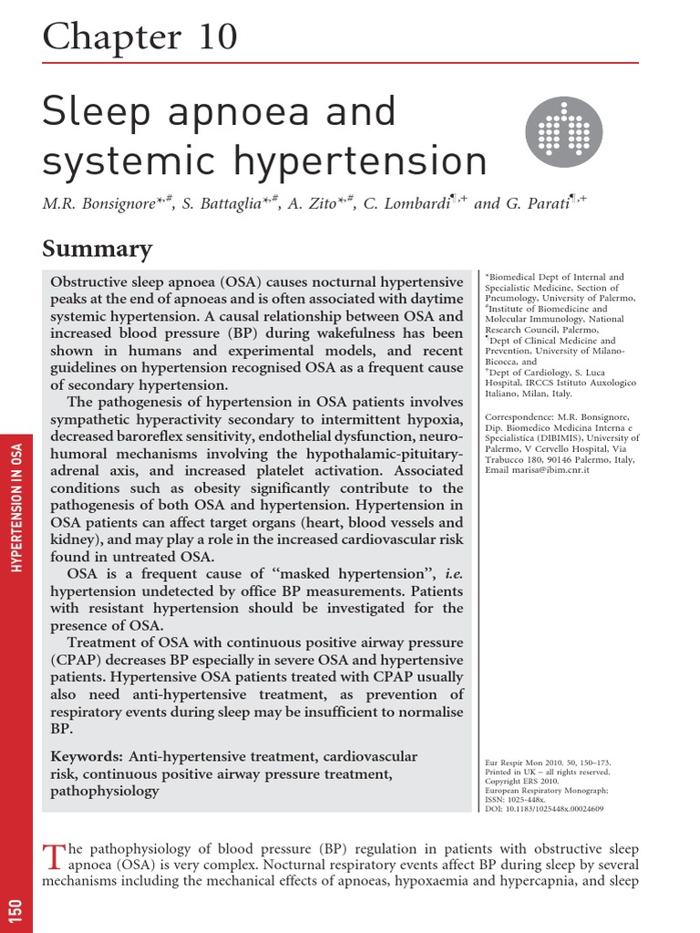 Sleep Apnoea and Systemic Hypertension | Hypertension | Blood Pressure