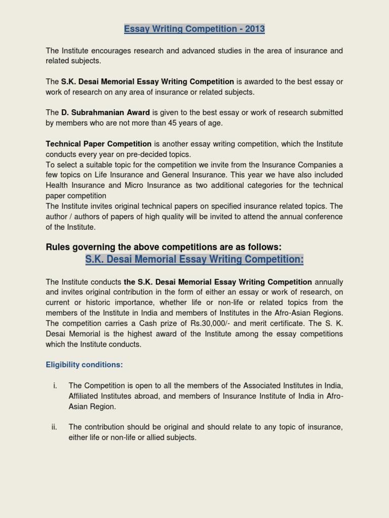 SK Desai and Essay Compition - III 2013.pdf | Insurance | Essays