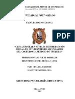 Clima escolar y niveles de interacción social en estudiantes de secundarios [i.e. secundaria] del Colegio Claretiano de Trujillo