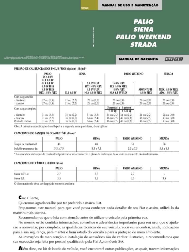 manual do proprietario fiat palio siena palio weekend e strada rh scribd com manual palio weekend 99 pdf manual palio 98/99