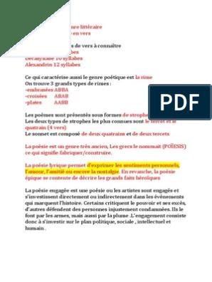 La Poésie Est Un Genre Littéraire Poésie Techniques
