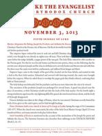 Sunday Bulletin, November 3, 2013