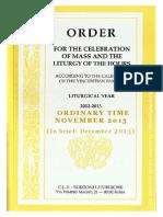 ORDO 2012/2013 Order for celebrations in November