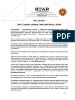 PressRelease-2013-Dont Threaten Sabahans Over Sabah Rights -23 September 2013.docx
