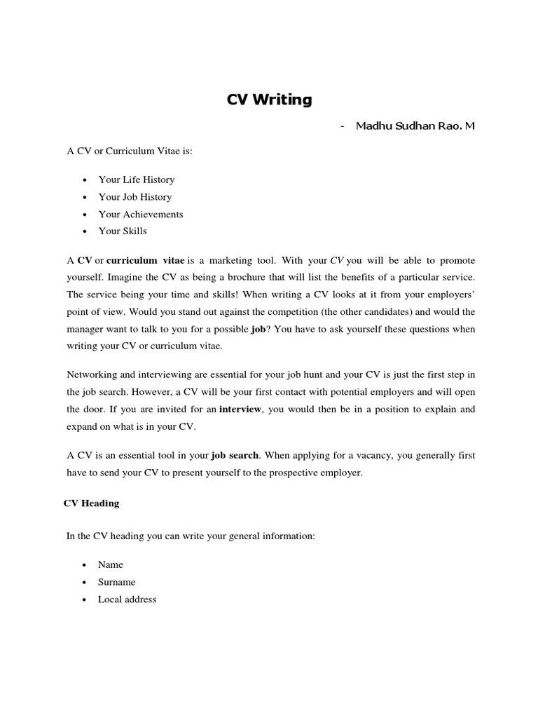 Cv Writing Pdf Resume Employment