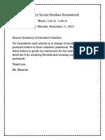 primary social studies homework