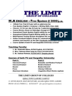 The LIMIT College Lahore begins admissions in MA English Language Program  for PU private candidates