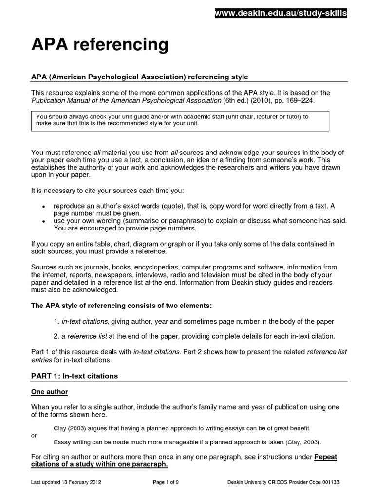 Apa Format Deakin University Citation Apa Style