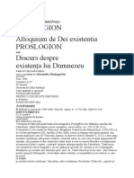1. Sf. Anselm din Canterbury Proslogion (Discurs despre existenta lui Dumnezeu).doc