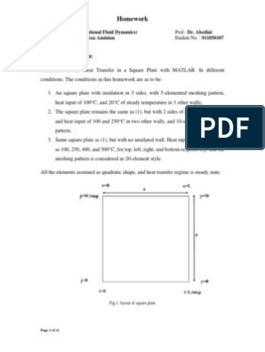 1st Project-2D HT in SQR Plate with MATLAB pdf | Computational Fluid