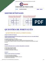 QUESTÕES DE PORTUGUÊS - FAÇA MUITAS QUESTÕES DE PORTUGUÊS