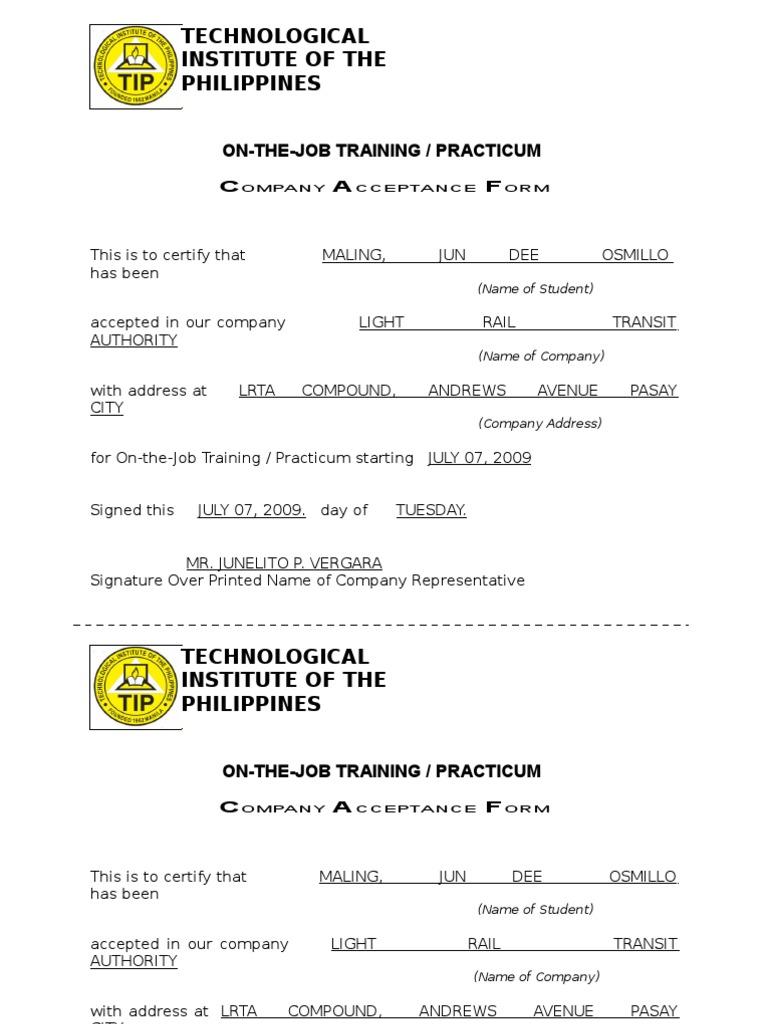 Ojt certificate of completion template image collections sample letter of certificate of completion for ojt image certificate of completion nbi ojt free user xflitez Images