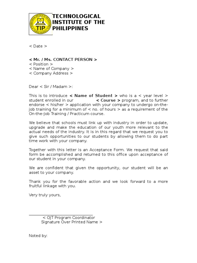 example of endorsement letter for ojt