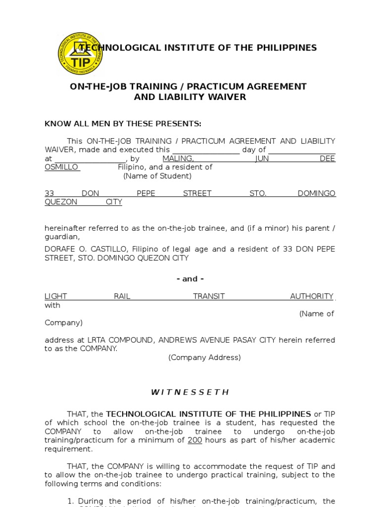 Ojt Practicum Agreement And Liability Waiver | Civil Law (Legal System) |  Virtue  Example Of Liability Waiver
