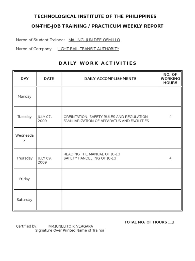 Beautiful Ojt Practicum Weekly Report  How To Write A Weekly Report Sample