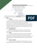Steps in Quantitative Data Administration