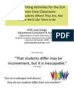 """Tiered"" Writing Activities for the ELA Common Core Classroom:Meeting Students Where They Are, Not Where We'd Like Them to Be, by With Judy Dodge"
