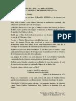 Sobre El Libro Palabra Eterna, Dice El Cardenal Arzobispo de Quito (1974)