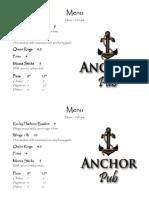 2009 pub menu