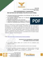 PRESENTA MOVIMIENTO CIUDADANO INICIATIVA DE REFORMA POLÍTICO-ELECTORAL