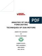 Analysis of Sales Forecasting Techniques of Dua Motors