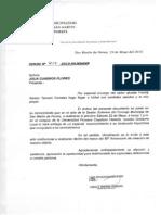 Lettera de La Municipalida de S.martin de Porres