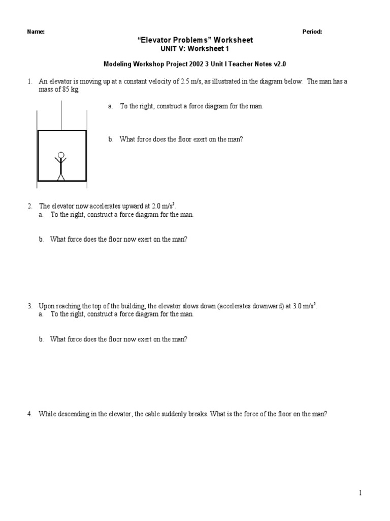 worksheet Unit 4 Worksheet 1 Physics workbooks modeling physics worksheets free printable ws elevator problems mwp mass elevator