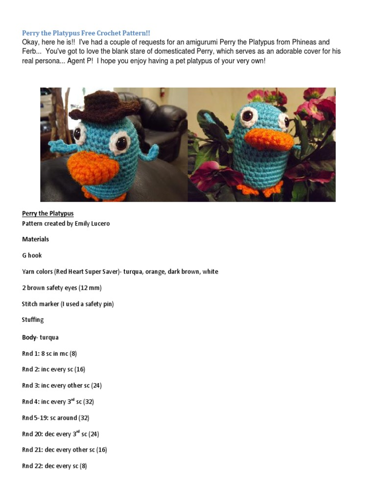 Perry The Platypus Free Crochet Pattern Crafts Needlework