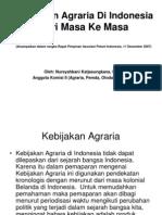 Kebijakan Agraria indonesia dari Masa ke Masa