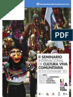 PROGRAMACIÓN - II SEMINARIO INTERNACIONAL DE CULTURA VIVA COMUNITARIA