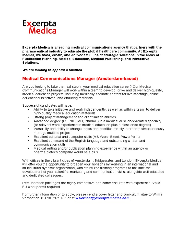Medical Communications Manager Advert