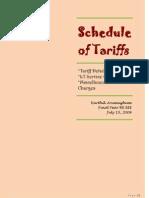Schedule of Tariffs