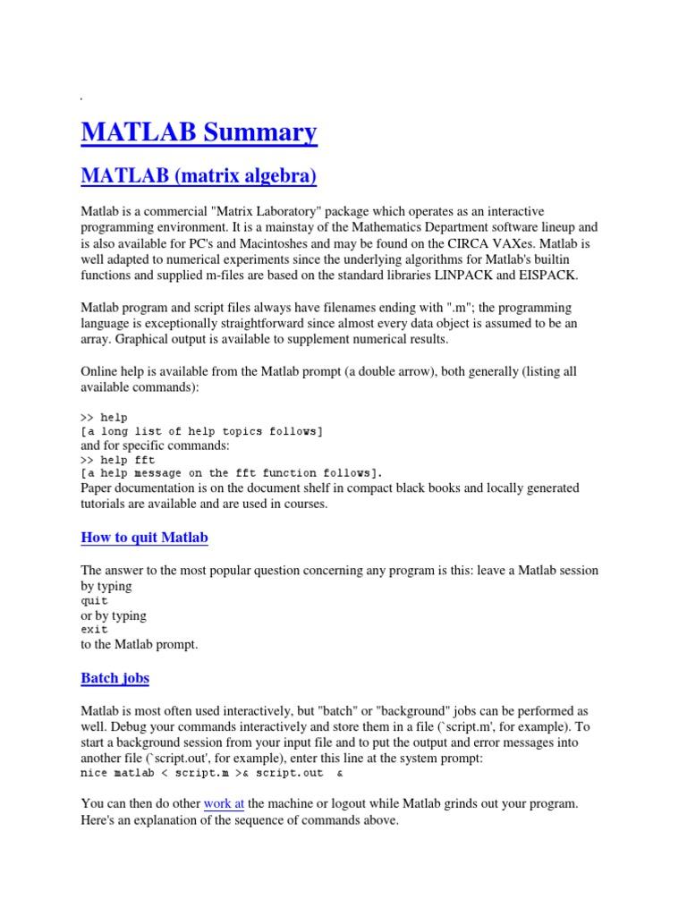 MATLAB Summary docx | Trigonometric Functions | Matlab