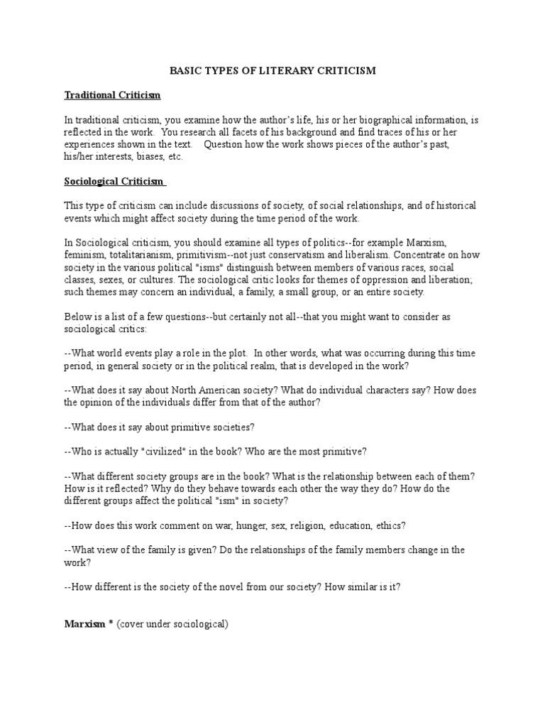 Types of literary essays
