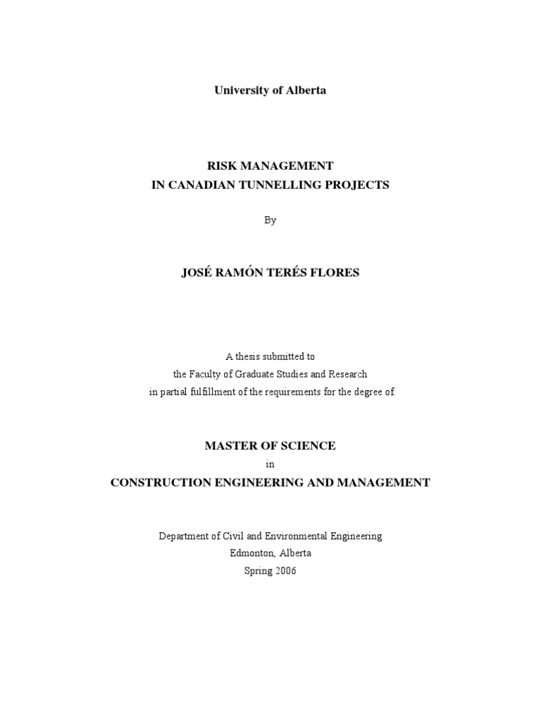 Master thesis in risk management