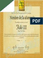 Certificado Reiki-III por Reikistas en La Red_Cartagena