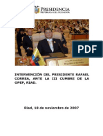 Rafael Correa Discurso ante la OPEP 2007