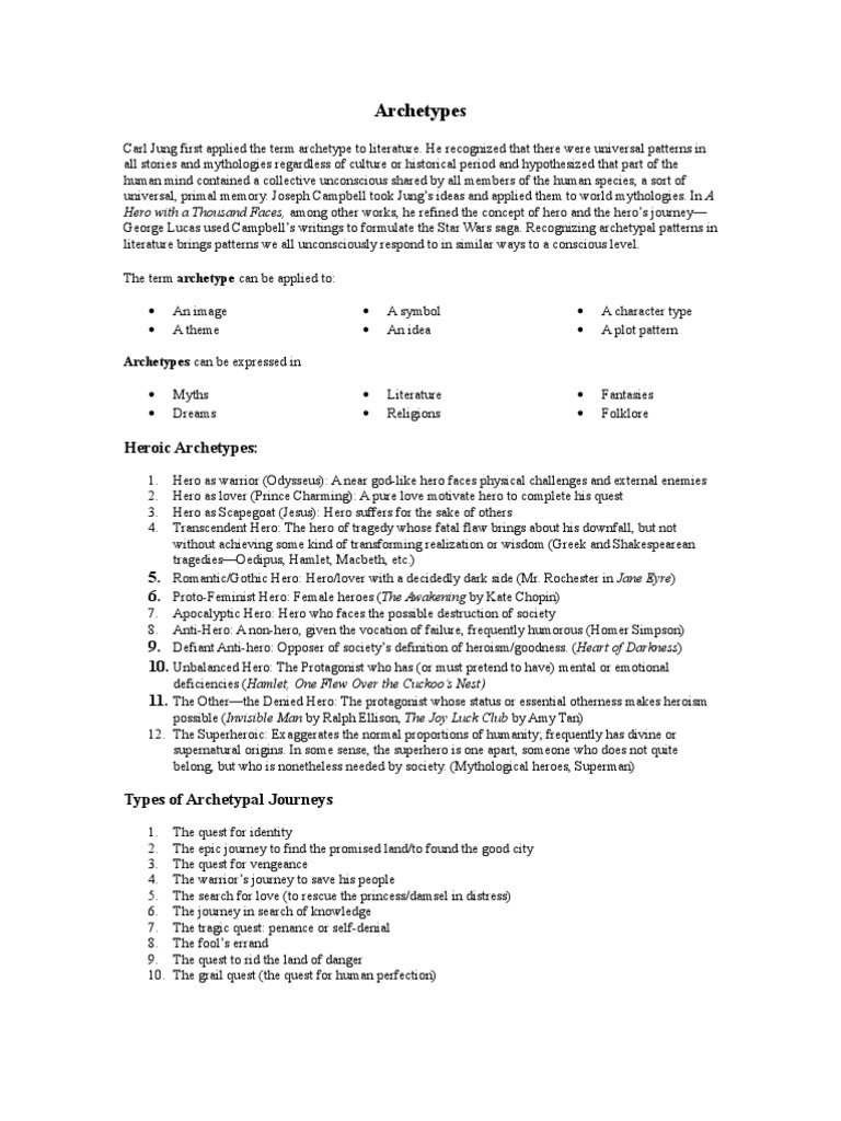 archetype essay your sources the textbook jung summary the archetypes handouts