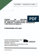 Covenin 3875 2005 Codigo de Seguridad en Instalaciones Electricas