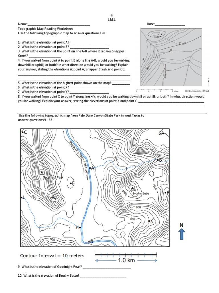 topographic map reading worksheet answers 1 8 Topo Worksheet 2013 Geographic Data And Information