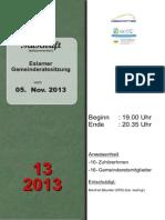 Aus den Eslarner Gemeinderatssitzungen - Mitschrift v. 05.11.2013