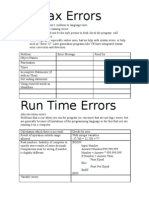 Run Time and Syntax Errors