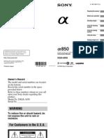 Sony Alpha DSLR α850 Instruction Manual (English)